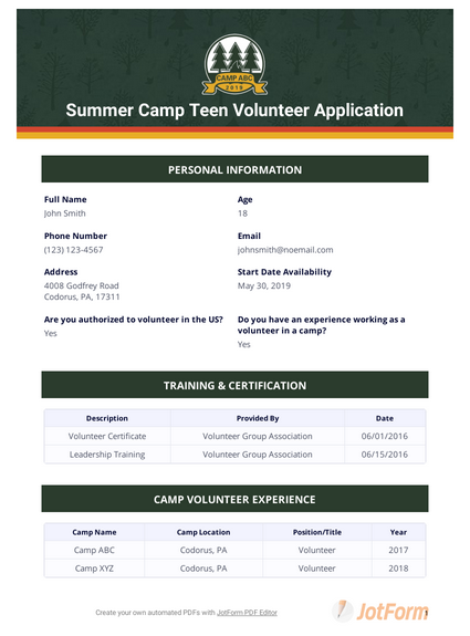 Summer Camp Teen Volunteer Application