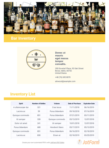 Alcohol Inventory