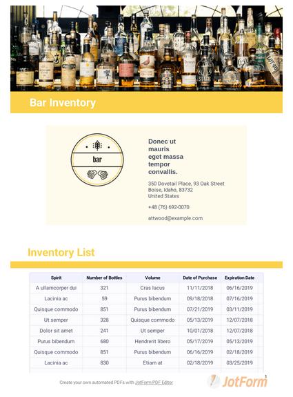 Alcohol Inventory