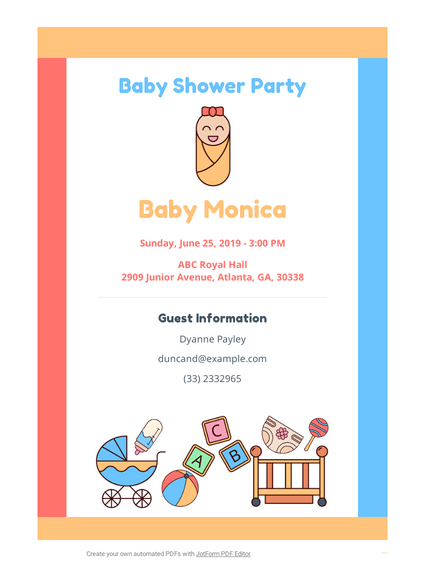 Baby Shower Invitation Template Pdf