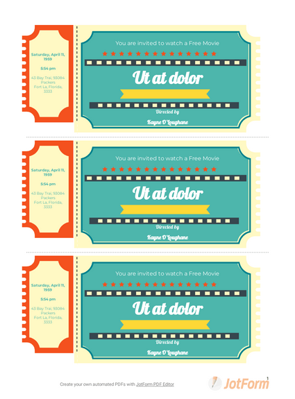 Free Raffle Ticket Template Pdf Templates Jotform