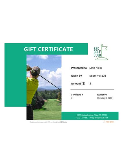 Golf Gift Certificate
