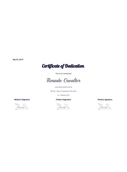 Baby Dedication Certificate