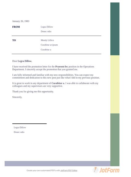 Promotion Acceptance Letter