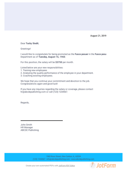 Promotion Letter to Employee