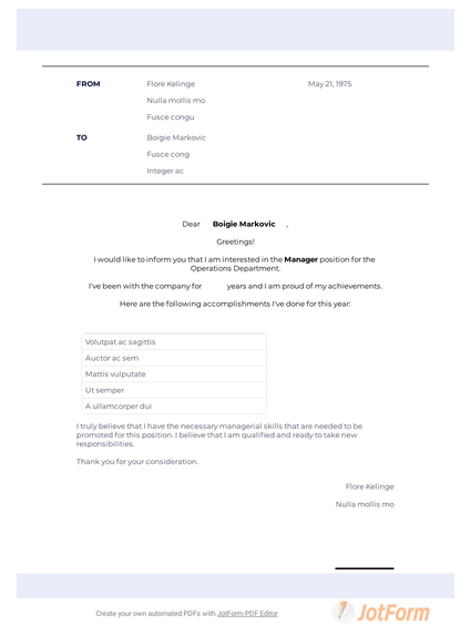 Letter To Manager For Promotion Pdf Templates Jotform