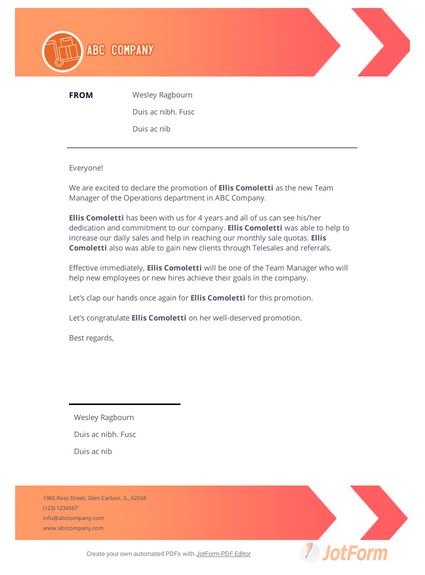 Promotion Announcement Letter Pdf Templates Jotform
