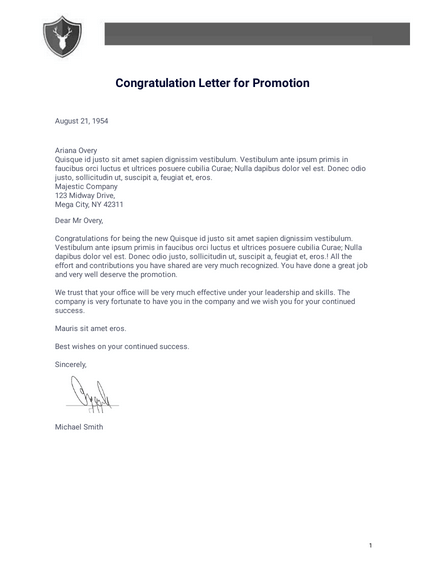 Congratulation Letter for Promotion