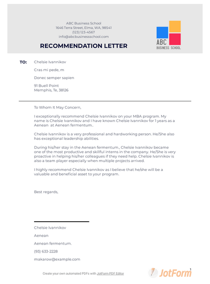 MBA Recommendation Letter