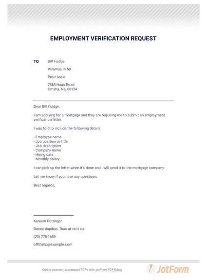 Employment Verification Request Letter - PDF Templates | JotForm on personal reference letter for apartment, termination letter for apartment, denial letter for apartment, recommendation letter for apartment, cover letter for apartment, letter of introduction for apartment, application letter for apartment, letter of intent for apartment,