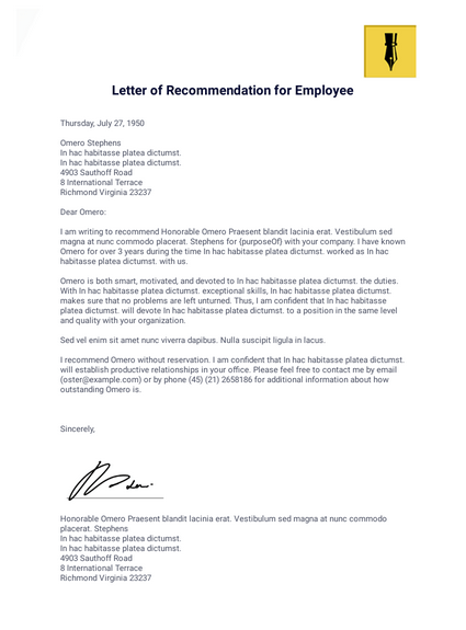 Letter of recommendation help