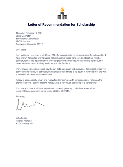 Letter of Recommendation for Scholarship - PDF Templates ...