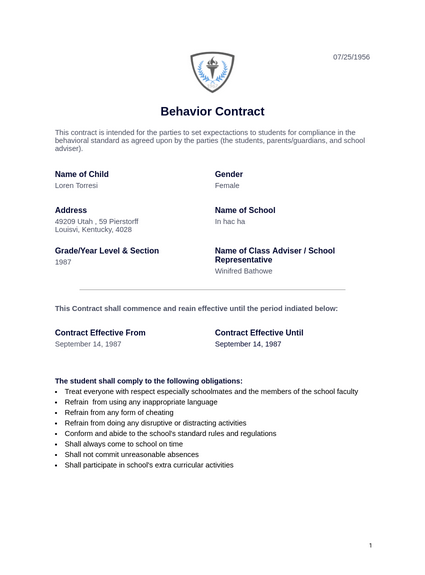 Behavior Contract Template