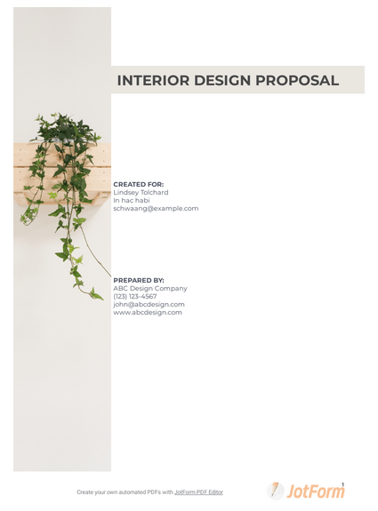 Interior Design Proposal Template Pdf Templates Jotform