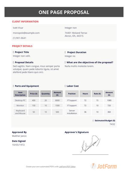 One Page Proposal Template Pdf Templates Jotform