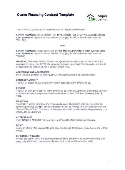 owner financing contract template pdf templates jotform. Black Bedroom Furniture Sets. Home Design Ideas