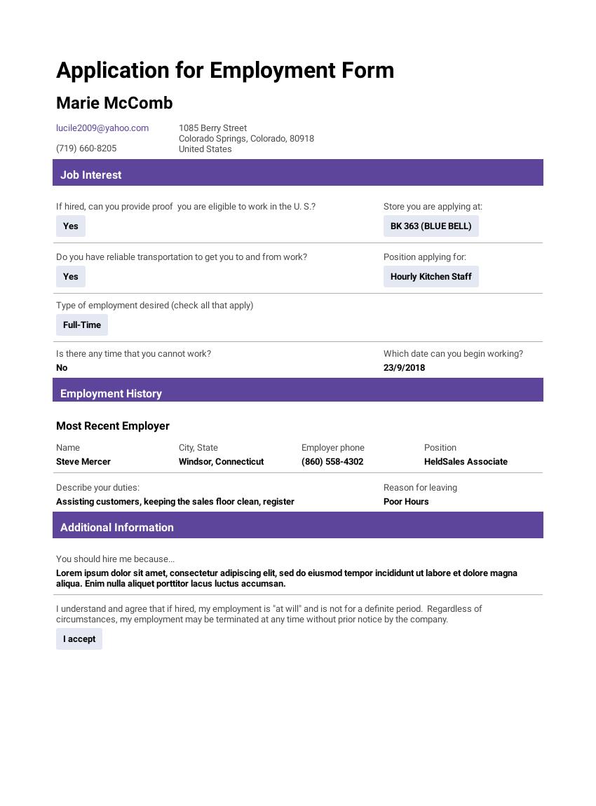 Job Application Templates - PDF Templates | JotForm