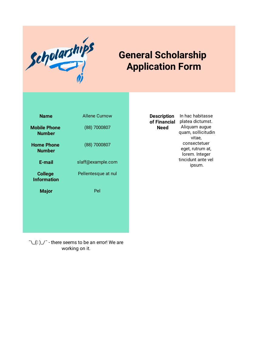 Scholarship Application Templates - PDF Templates | JotForm