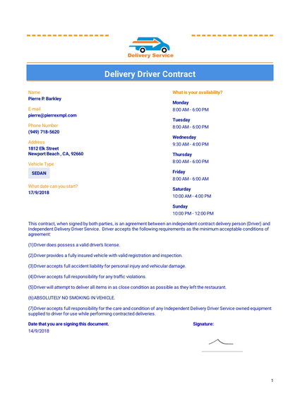 Delivery Driver Contract