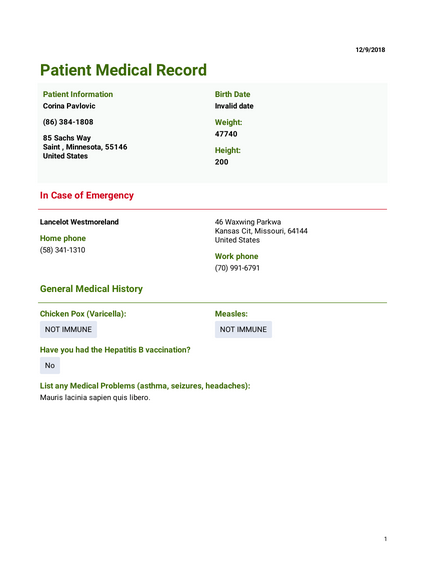 Medical Employment Record