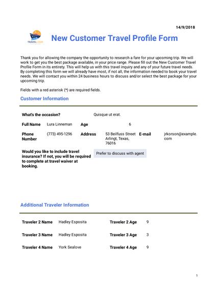 customer travel plan pdf templates jotform