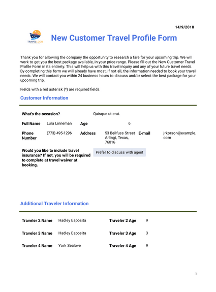 Customer Travel Plan