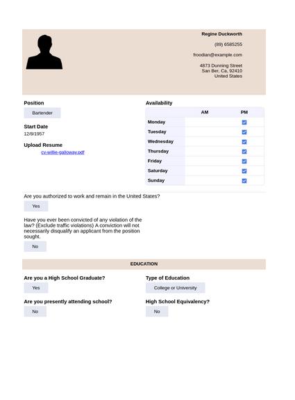 restaurant application template pdf templates jotform. Black Bedroom Furniture Sets. Home Design Ideas