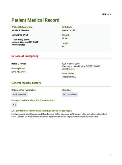 Patient Medical Record