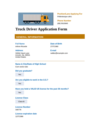 Truck Driver Application Template
