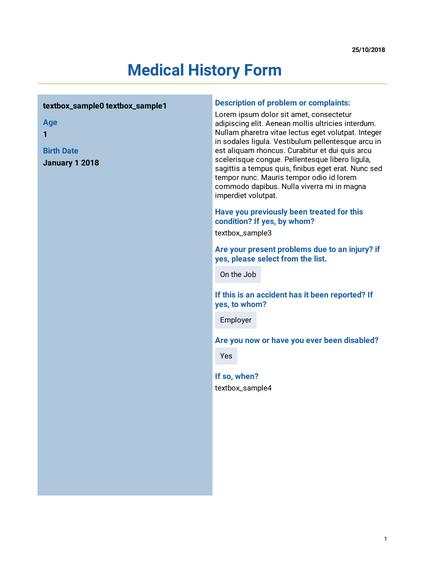 Medical History Templates - PDF Templates | JotForm