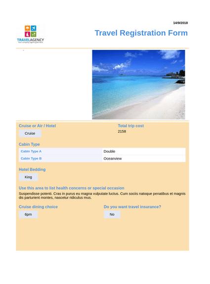 Travel Planning Registration
