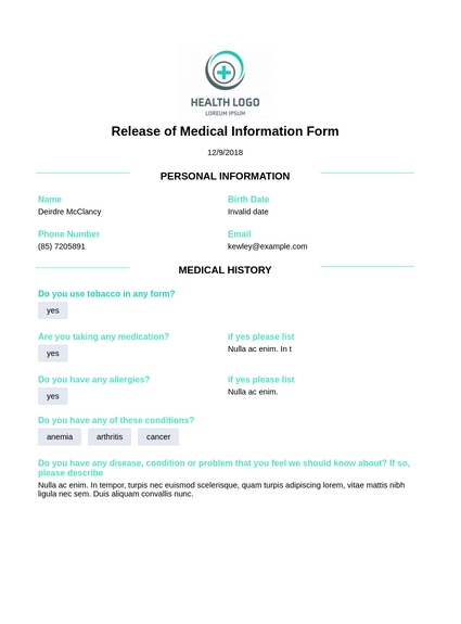 Release Of Medical Information Template Pdf Templates
