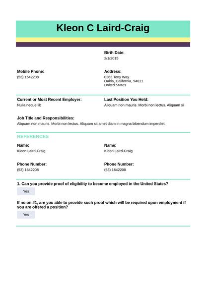 Advanced Employment Application