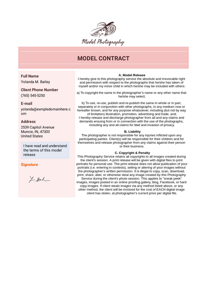 Model Contract Template Pdf Templates Jotform