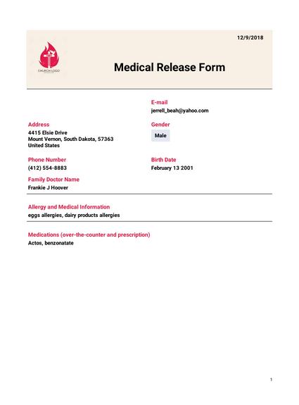 Medical Release Template Pdf Templates Jotform