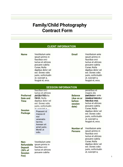 Simple Photography Agreement