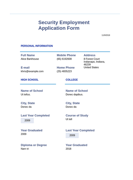 Security Employment Application