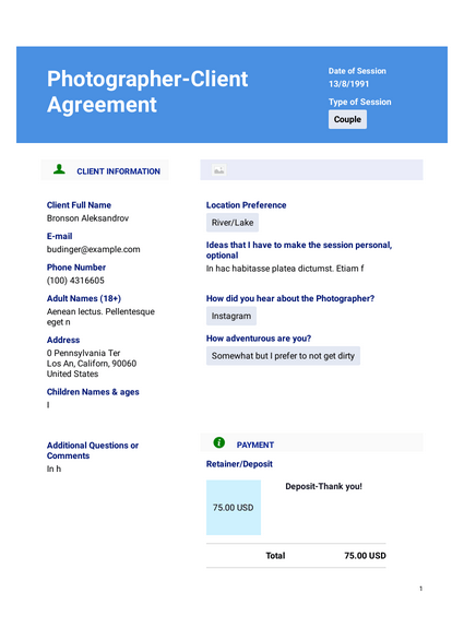 Photography Client Agreement