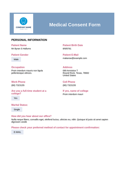 Detailed Medical Consent