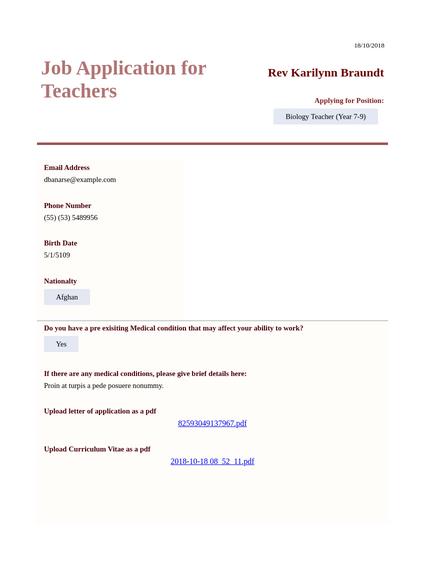 Job Application for Teachers