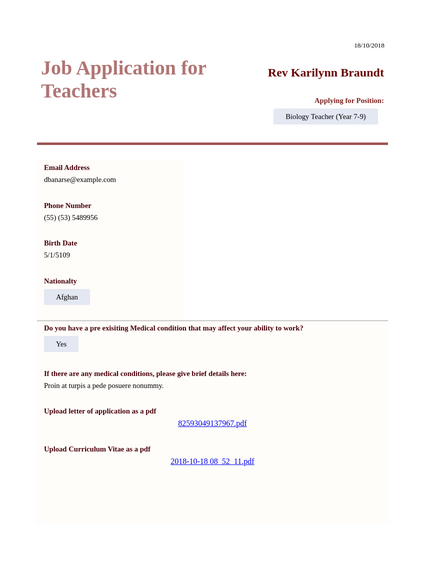 Job Application for Teachers