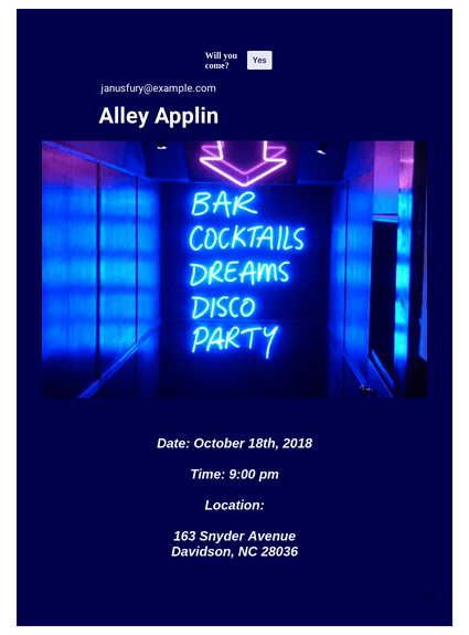 Neon Styled Party Invitation