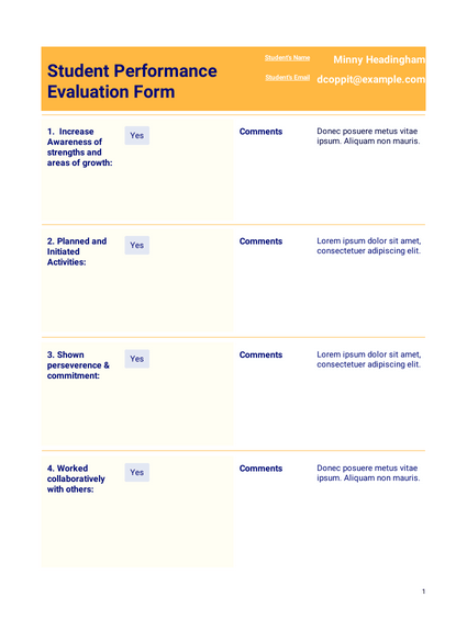 Performance Evaluation For Students Template Pdf Templates Jotform