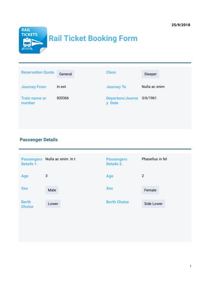 Rail Ticket Booking