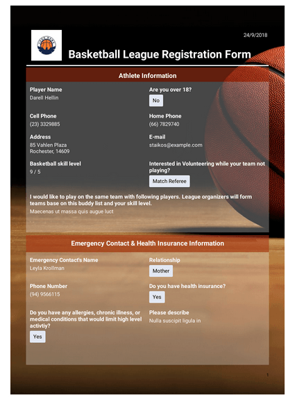 Basketball League Registration Event