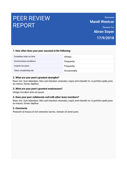 Peer Review Report Template