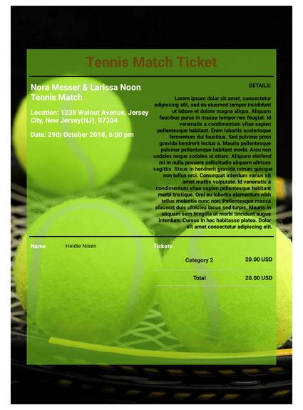 Tennis Match Ticket