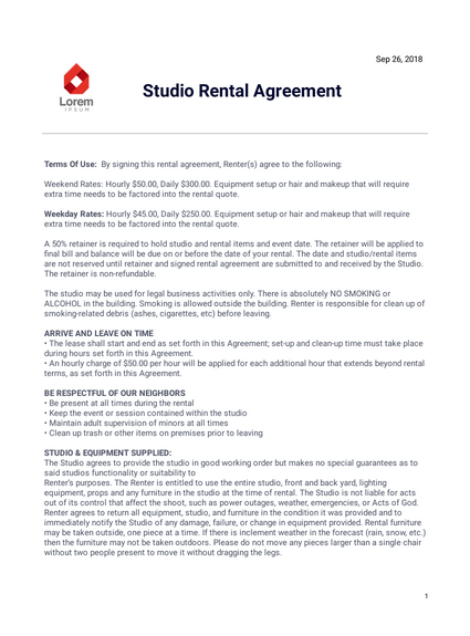Studio Rental Agreement Template Pdf Templates Jotform