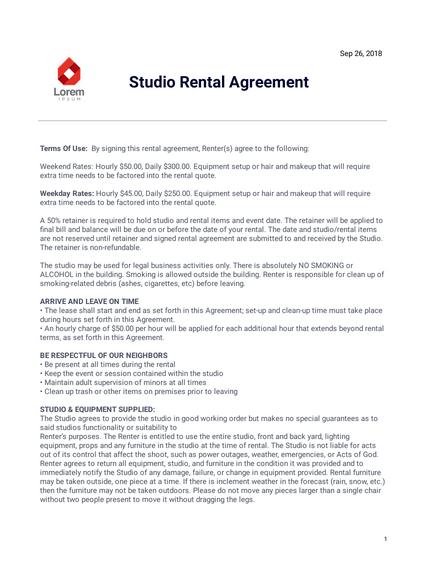 Studio Rental Agreement
