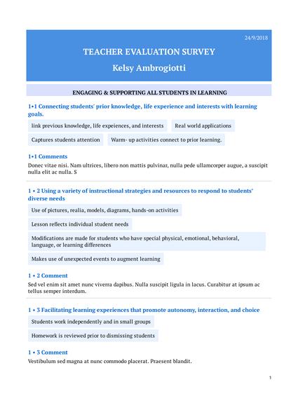 Teacher Evaluation Survey